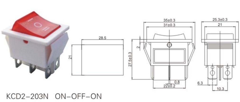 KCD2-203N 3 Position Rocker Switch 12V datasheet
