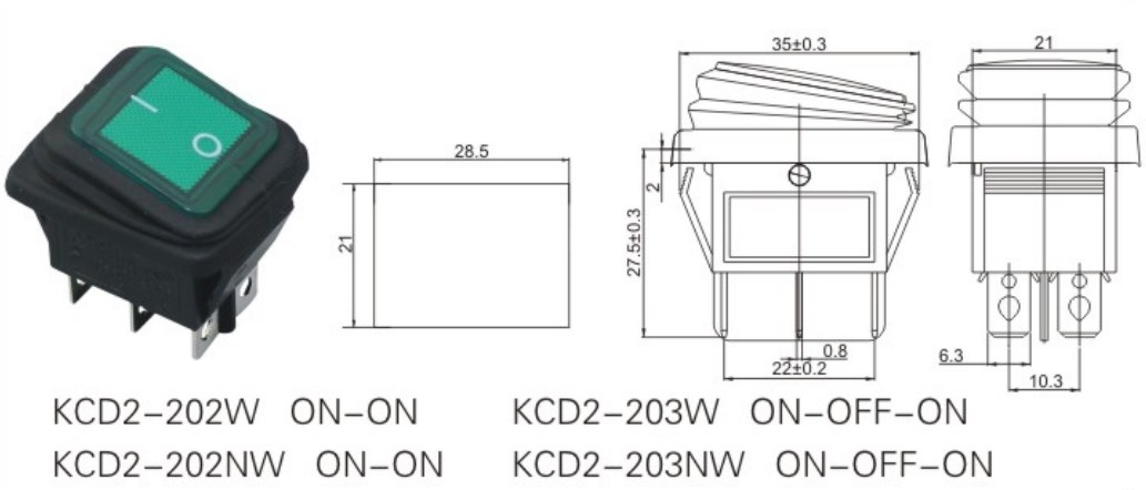 KCD2-203NW Red Lighted Rocker Switch datasheet