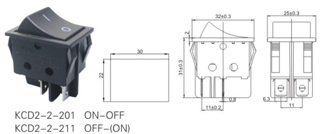 KCD2-2-201 Carling Rocker Switch datasheet