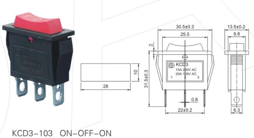 KCD3-103 3 Position Rocker Switch datasheet