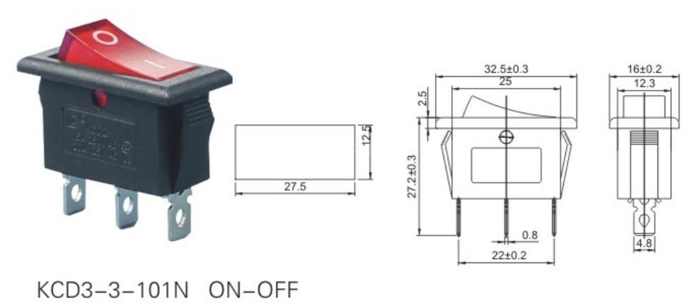 KCD3-3-101N Lighted Rocker Switch datasheet