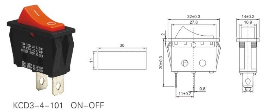 KCD3-4-101 120 Volt Rocker Switch datasheet