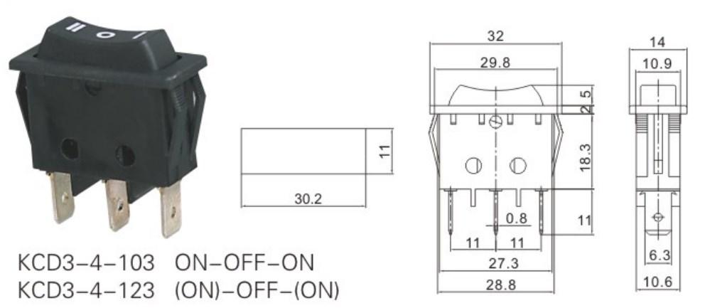 KCD3-4-123 Momentary Rocker Switch datasheet