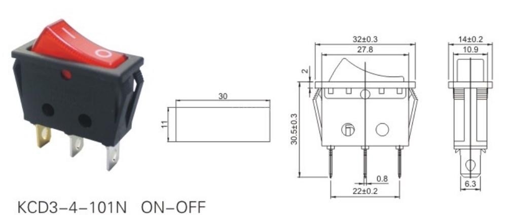 KCD3-4-101N 24 Volt Lighted Rocker Switch datasheet