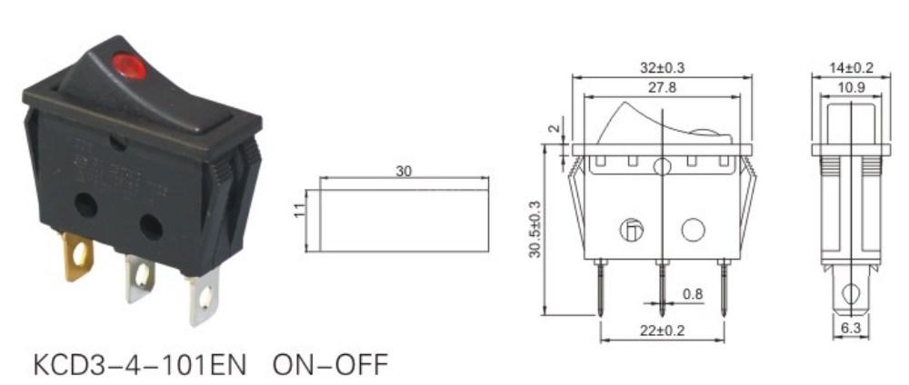 KCD3-4-101EN Led Light Rocker Switch datasheet