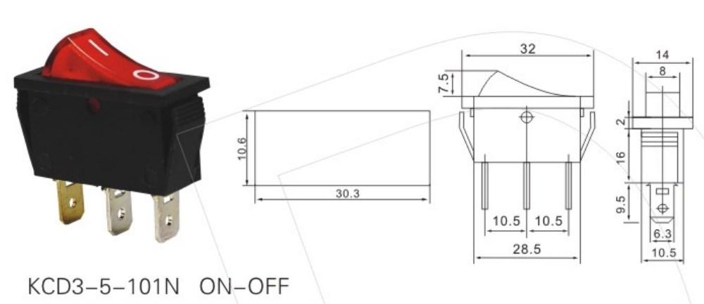 KCD3-5-101N ON-OFF Rocker Switch 12V datasheet