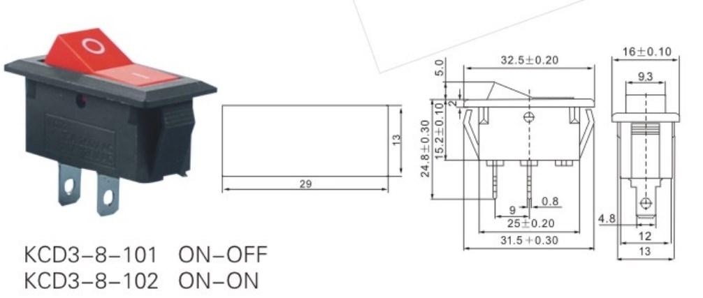 KCD3-8-101 AC Rocker Switch 2 Pin datasheet