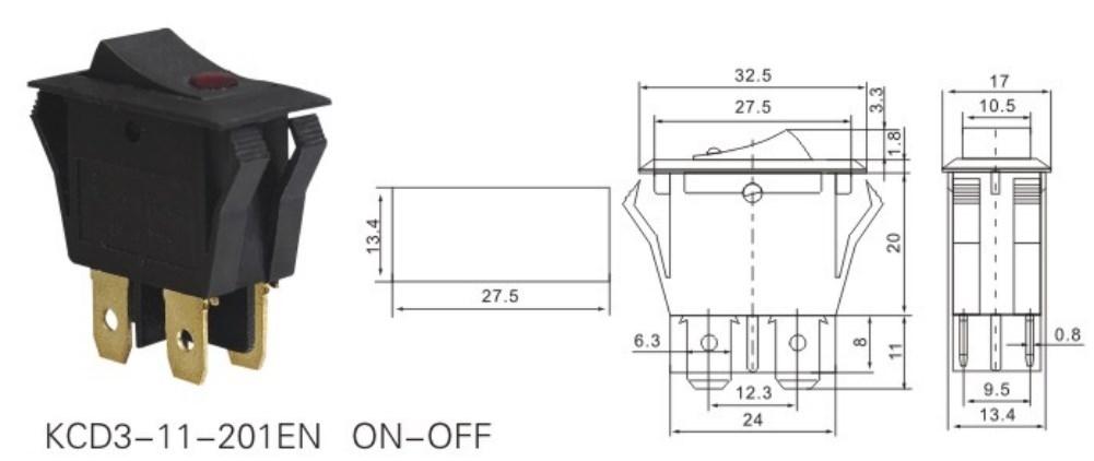 KCD3-11-201EN Lighted Rocker Switch 120V datasheet