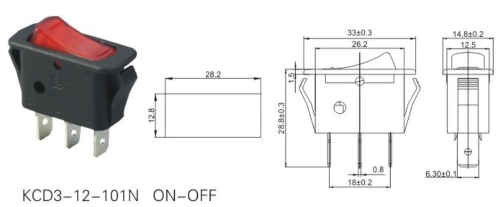 KCD3-12-101N T105 ON-OFF Rocker Switch datasheet
