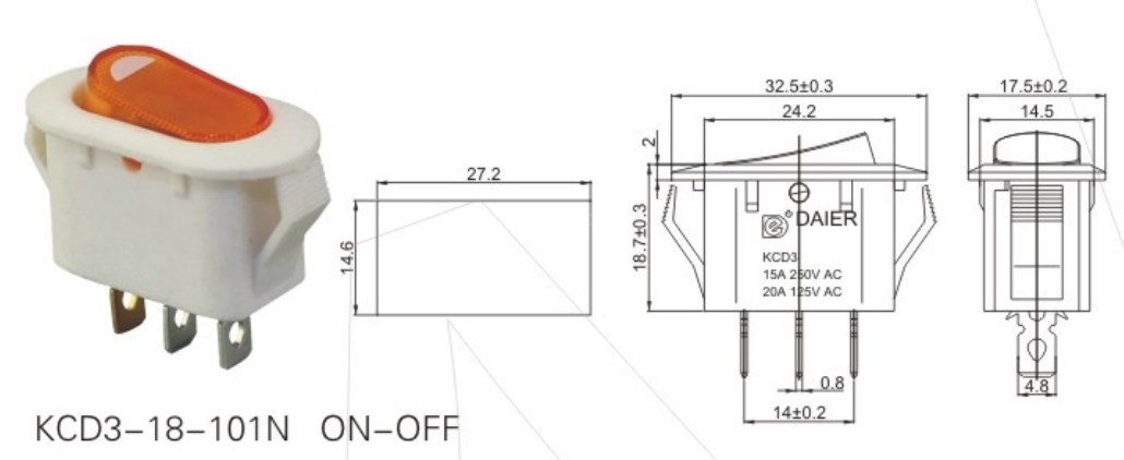 KCD3-18-101N Rocker Switch 3 Pin datasheet