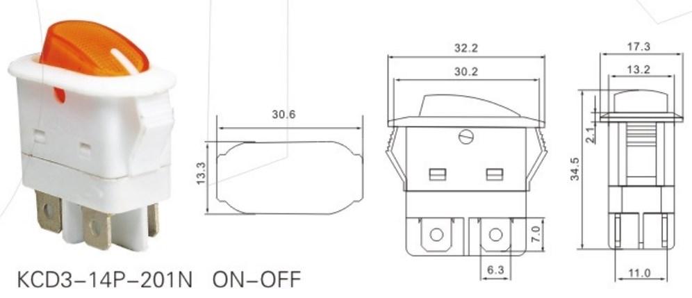 KCD3-14P-201N Rocker Switch Light T85 250VAC datasheet