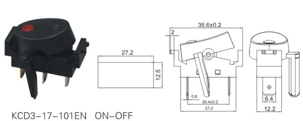 KCD3-17-101EN Dot Illuminated Rocker Switch 12V datasheet