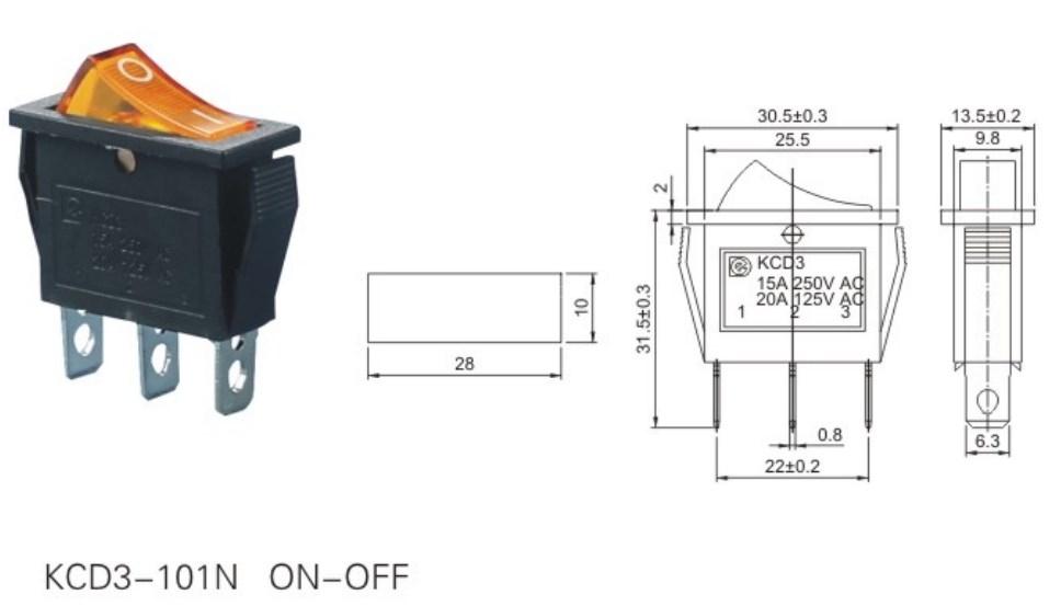 KCD3-101N Illuminated Rocker Switch 12V datasheet