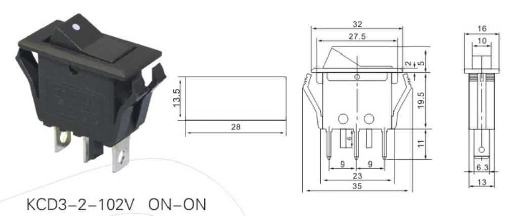 KCD3-2-102V T125 Electrical Rocker Switch datasheet