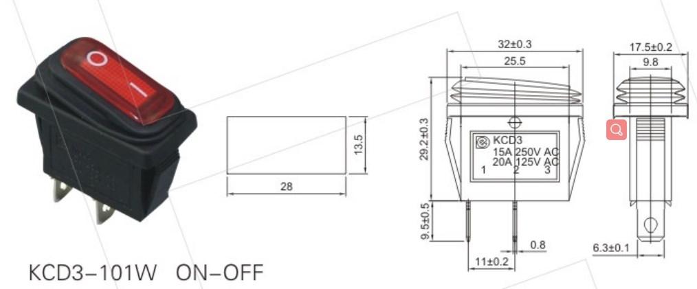 KCD3-101W Micro Rocker Switch Waterproof datasheet