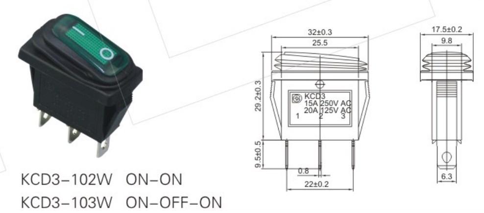 KCD3-102W Boat Rocker Switch datasheet