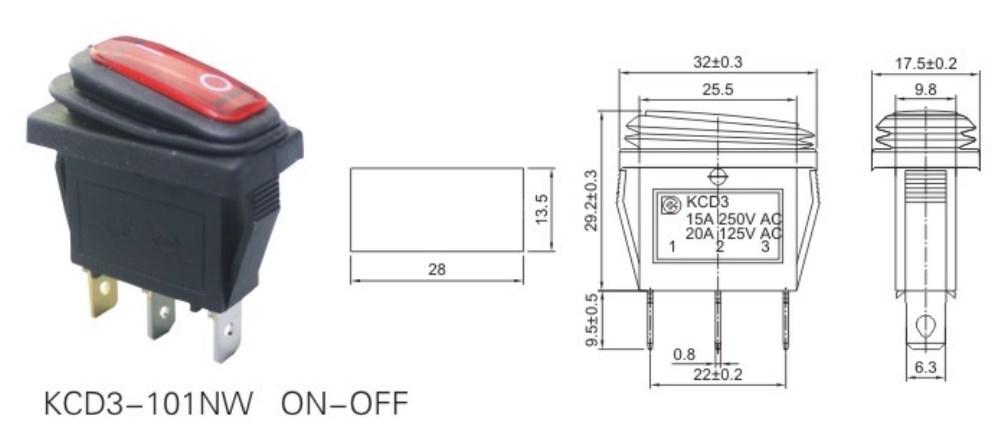 KCD3-101NW 120V LED Rocker Switch datasheet