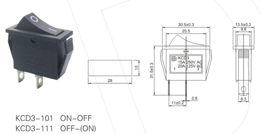 KCD3-101 16 AmpRocker Switch detailed information as below