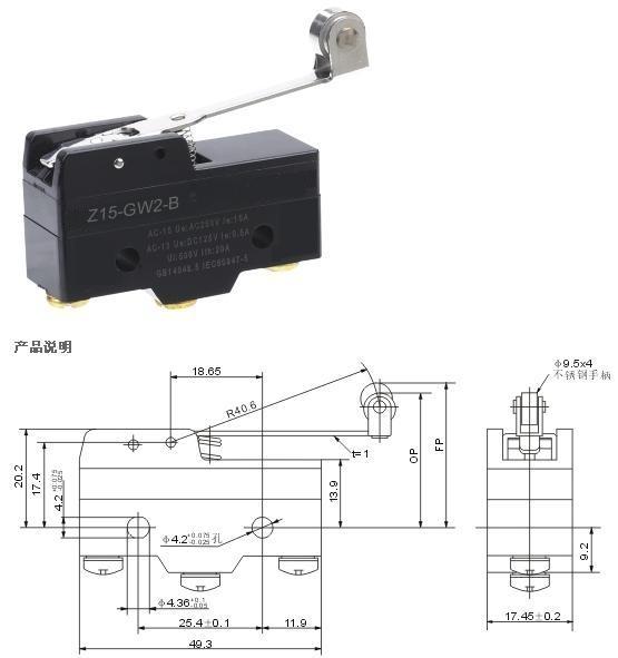 Z-15GW2-B micro roller switch