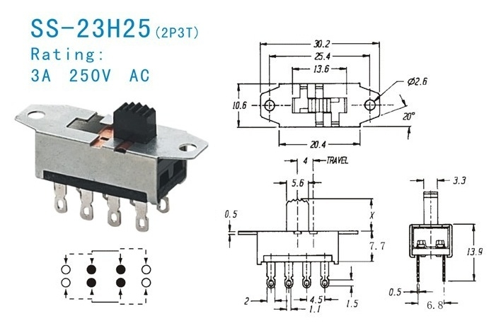 SS-23H25 dp3t slide switch