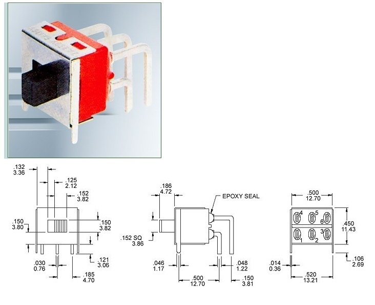 SS8-6-1 miniature slide switches