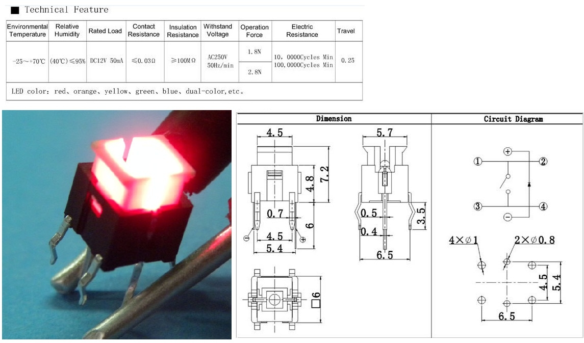 TSL-A063 tact switch 6x6
