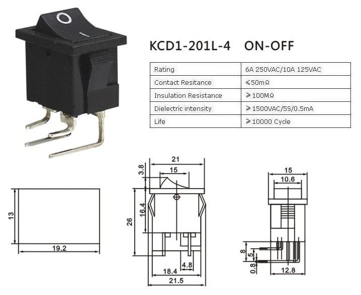 KCD1-4-201L Angled Terminal Rocker Switch datasheet